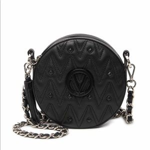 NWT MARIO Valentino Round Black Crossbody Leather